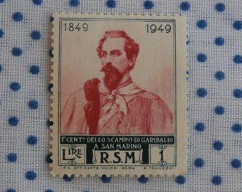 1949 San Marino Stamp, 1 Lire, Garibaldi