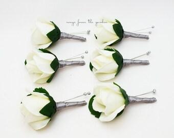 White Garden Rose Boutonniere rose boutonniere | etsy
