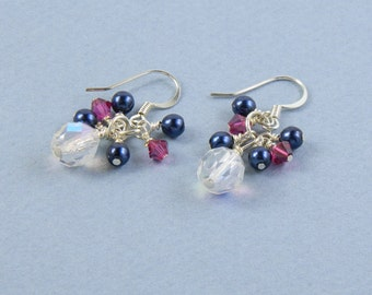 Fuchsia and Navy Cluster Earrings, Navy and Fuchsia Dangle Earrings with Surgical Steel Ear Wires