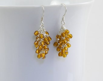Golden Brown Dangle Earrings on Sterling Silver Ear Wires