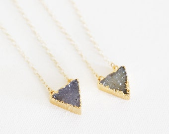 Simple Triangle Druzy Necklaces - Natural Druzy and 14k Gold Fill Necklaces - TwoColor Choices
