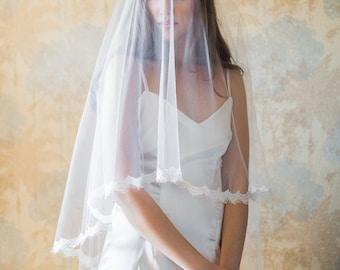 Jacinta,2 tier cathedral veil, Drop veil with lace, Ivory Veil, Lace veil fingertip, Lace edge veil, Wedding Veil, Bridal Veil, Blusher Veil