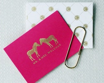Preppy, Modern, Personalized Foil-Stamped Foldover Notecards | You Choose Paper Color & Foil Ink Color