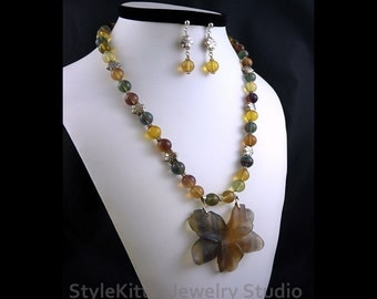 Golden Rainbow Fluorite, Carved Stone Flower Pendant, Necklace, Dangle Earring, Gemstone, Sterling Silver, Multi Color, 2 Piece Set, Jewelry