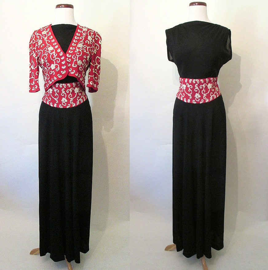 Glamorous 1940's Old Hollywood Gown Party Dress With