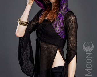 FINAL SALE: The Gypsy Sparkle Hooded Vest in Purple Black Gold Baroque by Opal Moon Designs (Size XS)