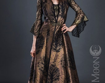"""Limited Edition: The Antique Gold Opera Vest Hooded Long Vest w/ Black """"Leaves"""" by Opal Moon Designs (sizes S, M, XL)"""
