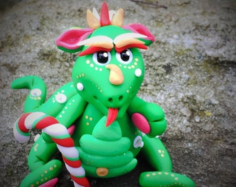 Polymer Clay Dragon 'Evergreen' - Limited Edition Christmas Holiday Collectible