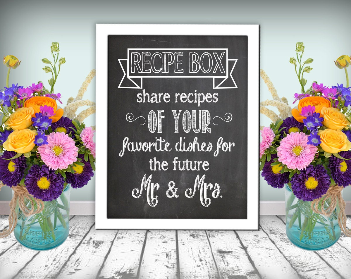 Chalkboard Recipe Cards Recipe Box Sign Chalkboard