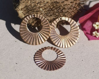 Hoops Ruffled 30mm for Earrings or Pendant Offset Circle for Enameling Stamping Texturing Variety of Metals