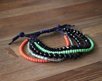 Beaded Wax Cord Bracelet - green, orange, yellow, black - adjustable