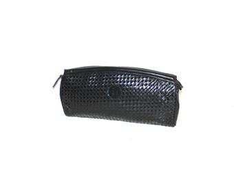 FENDI Vintage Black Leather Woven Handbag Clutch - AUTHENTIC -