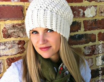 Ribbsta Hat Pattern for women using chunky yarn - Slouchy Beanie Crochet Pattern No.230 Digital Download