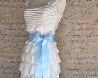 Satin sash in your choice of colors. Bridal belt Bridesmaids sash Flower Girl sash. Light blue shown