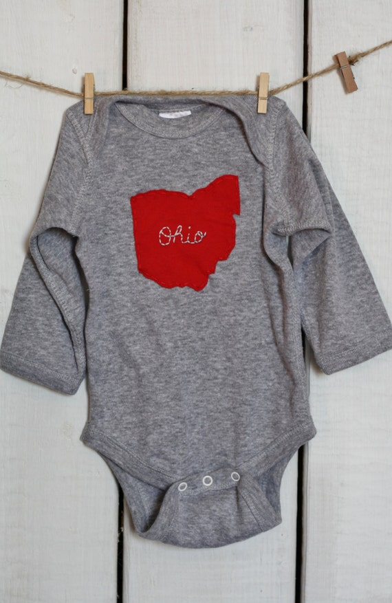 Script Ohio hand embroidered on State of Ohio