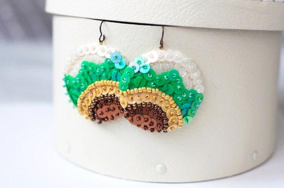 Sunflower folk Earrings - Yellow Green Copper Sequin - embroidered felt Spring