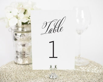 "Wedding Table Numbers - 5x7"", Any Color - Rustic Modern Design - Decorative, Party Decoration, Script"