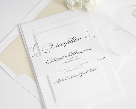 Light Gold Wedding Invitations - Champagne, Neutral, Ivory Wedding Invitations - Marriage Design - Sample Set