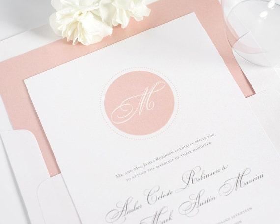 Blush Wedding Invitation - Circle Monogram, Initials, Blush, Pale Pink, Blush Pink - Wedding Invitations - Circle Monogram Deposit