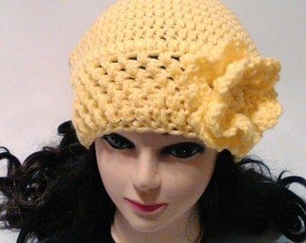 Yellow Slouchy Woman's Hat, Textured Hat, Crochet Flower Hat