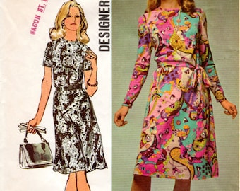 1970s Simple A Line Dress - Vintage Sewing Pattern Simplicity 9458 - Bust 40