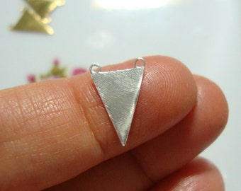 Handmade 925 Sterling Silver Triangle Pendant, Stamping Triangle,Double Bail Silver Triangle Charm,Layered Necklace Triangle,10x15mm PC-0032