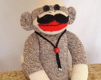 Sock Monkey Doll with Choice of Mustache Styles, Movember Monkey, Stache Monkey, Mustache Sock Monkey