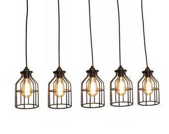 Cage Pendant Light Antique Reclaimed Wood Chandelier Rustic lighting Modern Dining chandelier wedding Edison Bulb Ceiling