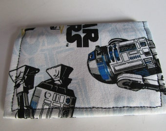 Star Wars, R2D2 Credit Card Wallet, Gift Card Holder, Business Card Holder, Business Card Wallet, Bi Fold,  comic con, Small Fabric Wallet,
