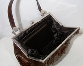 50s 60s brown snakeskin handbag purse - scalloped trim - small and pretty bag