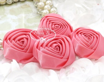 Sierra: 4pcs CORAL Pink - 50mm Adorable Rolled Satin Silk Rose Bud Rosettes Fabric flowers. Hair Accessories. Fascinator.