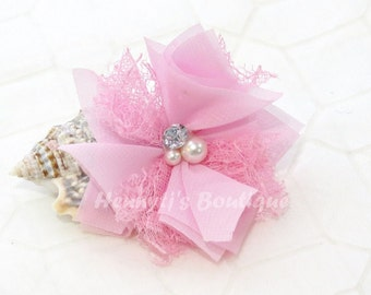 """Elena Chiffon Lace : Baby PINK 2.5"""" inch Lace Mesh Flowers rhinestone Pearl Center Puffy Flowers. DIY Hair accessories Supplies"""