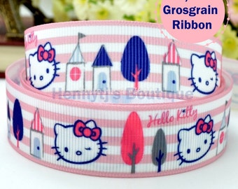 """4 yards : Hello Kitty Pink Bow Character Cartoon Logo Brand Inspired Pink Stripes Grosgrain Ribbon 7/8"""" inch wide. Gift Wrap. DIY Supplies."""