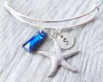 Starfish Beach Bermuda Blue Adjustable Bangle Bracelet, Starfish Charm, Bermuda Blue Swarovski Crystal, Personalized Initial Charm Bracelet