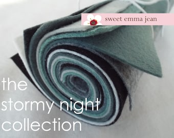 9x12 Wool Felt Sheets - The Stormy Night Collection - 8 Sheets of Felt