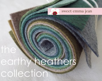 Wool Felt Sheets - The Earthy Heathers Collection - 8 Sheets of 9x12 Felt