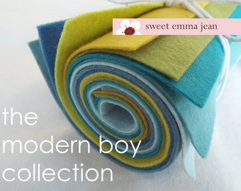 9x12 Wool Felt Sheets - The Modern Boy Collection - 8 Sheets of Felt