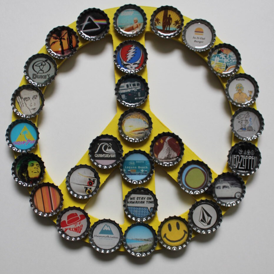 Bottle cap wall hanging art peace sign glow in by for Bottle cap wall