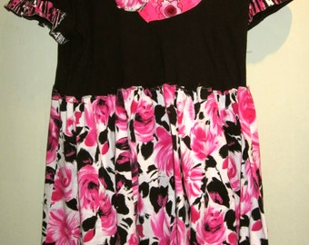 SALE Black and Pink Upcycled tunic fits M L