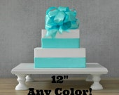 "12"" ANY COLOR Cake Stand Square White Wedding Rustic Cupcake Stand Topper Wedding Decor E Isabella Designs Featured  Martha Stewart Weddings"