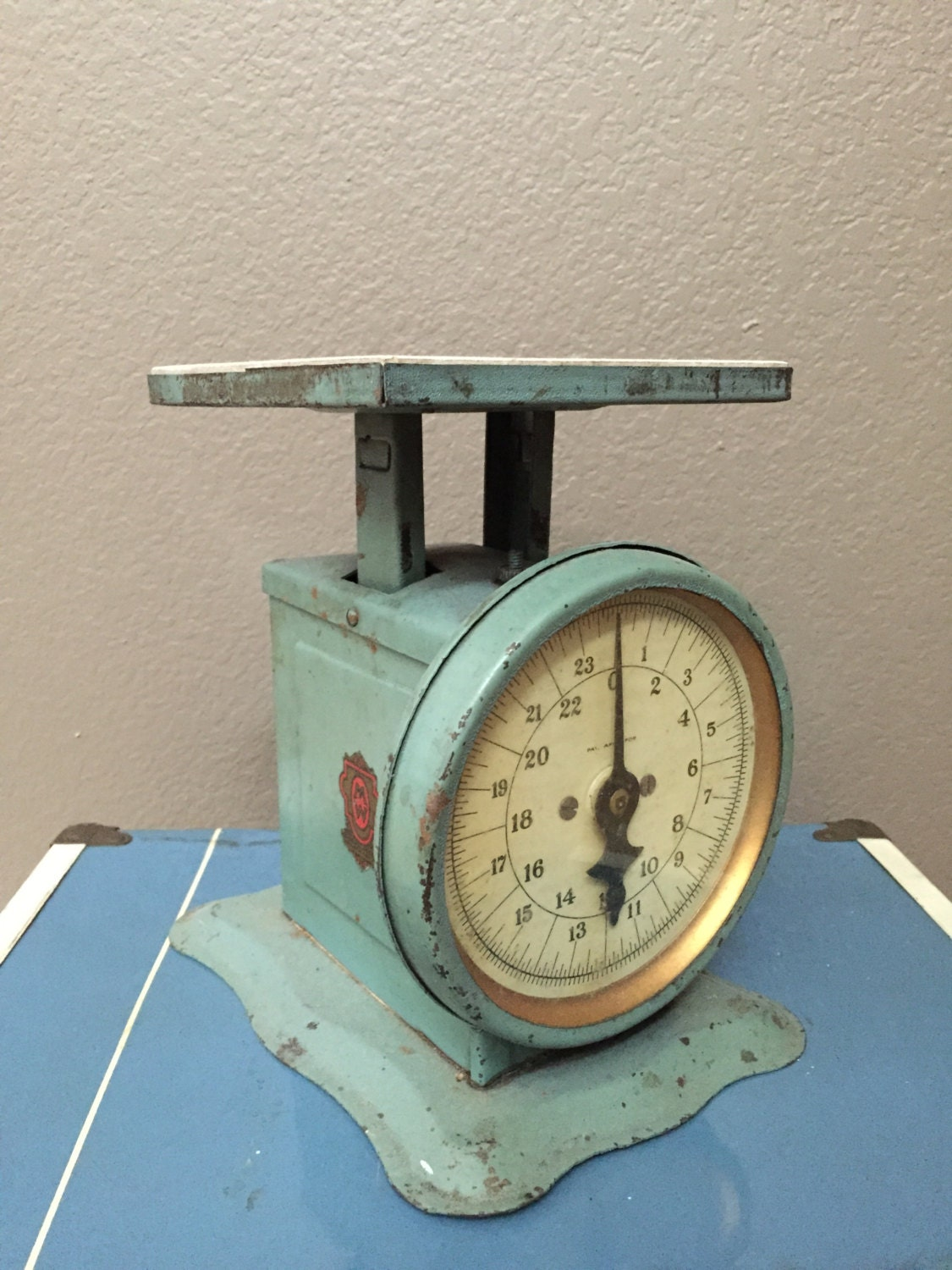 Antique Vintage Green Metal Kitchen Scale With Porcelain Top