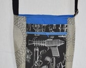 Convertible Cross-body Bag, Up cycled, 'Ray Gun' Fabric and Grey Upholstery Fabric