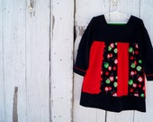 Red, Black and Green Apple Corduroy Pullover Dress--Girls Size 3