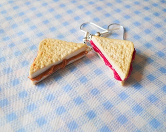 Peanut Butter and Jam Earrings, Peanut Butter and Jelly Earrings, PB and J, Food Earrings, Sandwich Earrings, Miniature Food, Polymer Clay