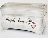 Large 'Happily Ever After' Card Box for Wedding Cards- holds 250-300 cards in Shabby Chic Whitewash
