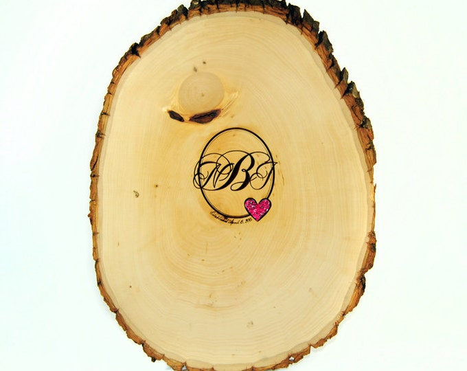 Tree Slice Guest Book with Custom Burned Monogram and Stone Inlay Heart - PEN INCLUDED