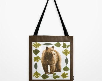 Black Bear Vintage Look Tote Bag, Reusable bag, bear photo tote bag