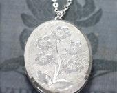 Sterling Silver Locket Necklace, Large Oval Full UK Hallmarks London 1966 Vintage Pendant - Blossom