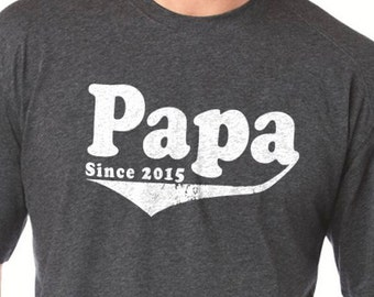 Papa Since 2015 Mens T shirt Husband Gift Christmas Gift Dad Gift New Dad Shirt Funny Tshirt Awesome Dad