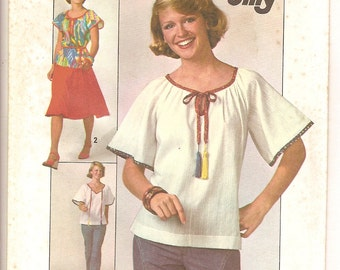 Easy Vintage 70s Jiffy Pattern -Flared Skirt & Pullover Top  -Simplicity 7964 Size 10 Peasant Prarie Folk Boho -Short or Elbow Sleeves UNCUT
